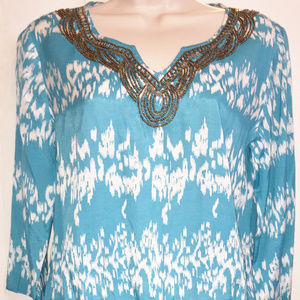 CHICO'S Blue Beaded Viscose Top Size 0 (4-6)
